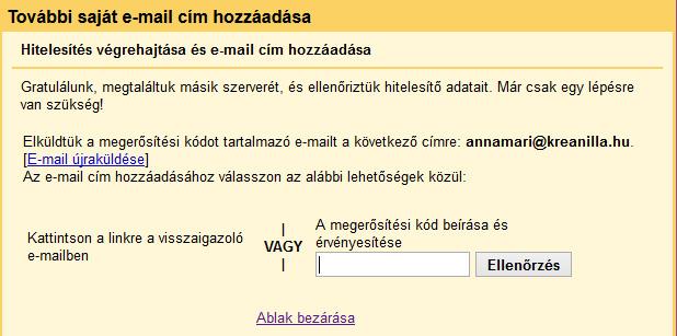 Új email cím hitelesítése Gmailben