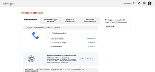 Kétlépcsős azonosítás visszaigazolása - Google