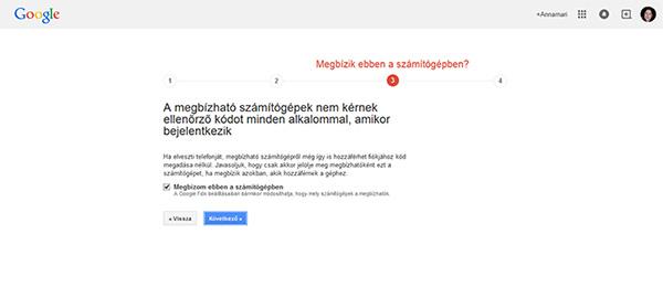 Google fiók ellenőrzés - megbízható számítógép