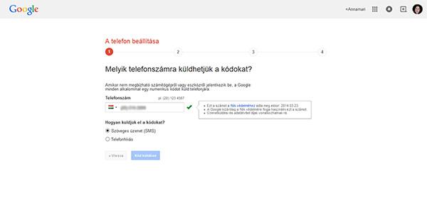 Telefon beállítása - Gmail