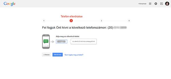 Telefon ellenőrzése - Gmail