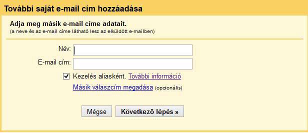 További saját email cím megadása Gmailben