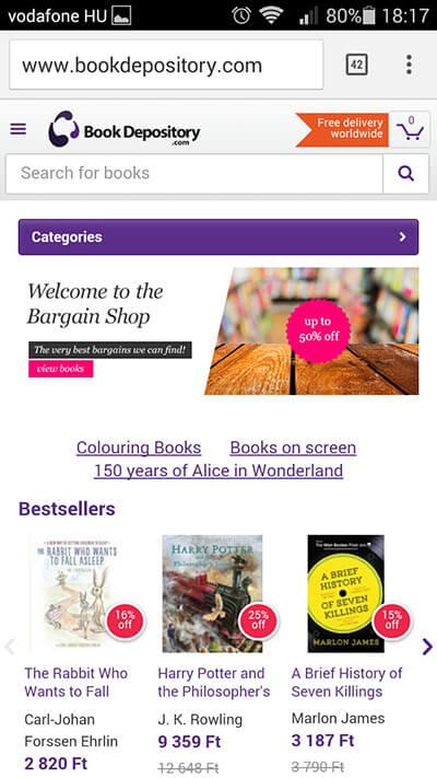 bookdepository.com - reszponzív weboldal
