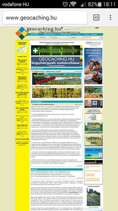geocaching.hu - nem reszponzív weboldal