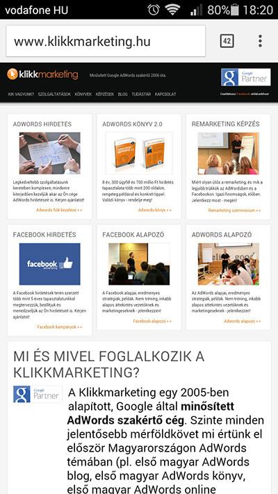 klikkmarketing.hu - nem reszponzív weboldal