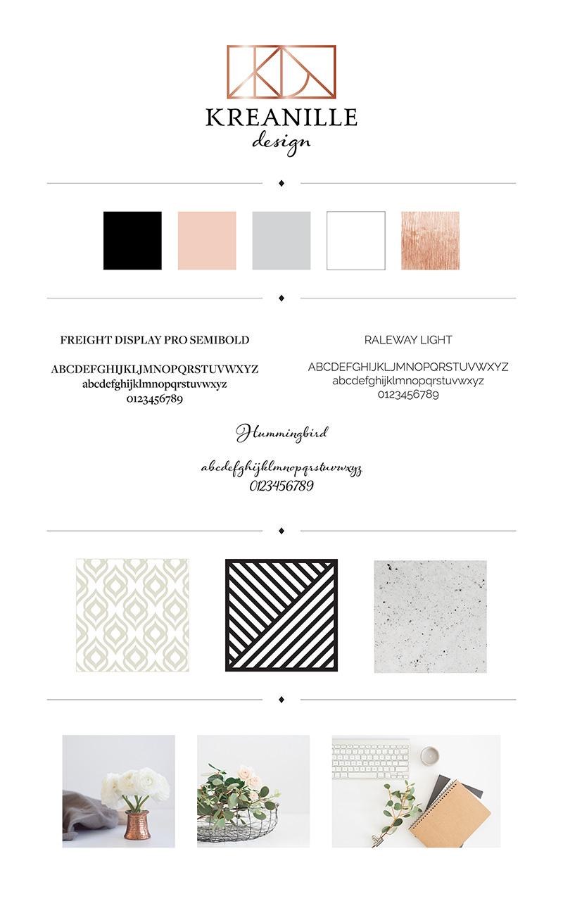 Brand board: Kreanille logó, arculat, webdesign, weboldalkészítés