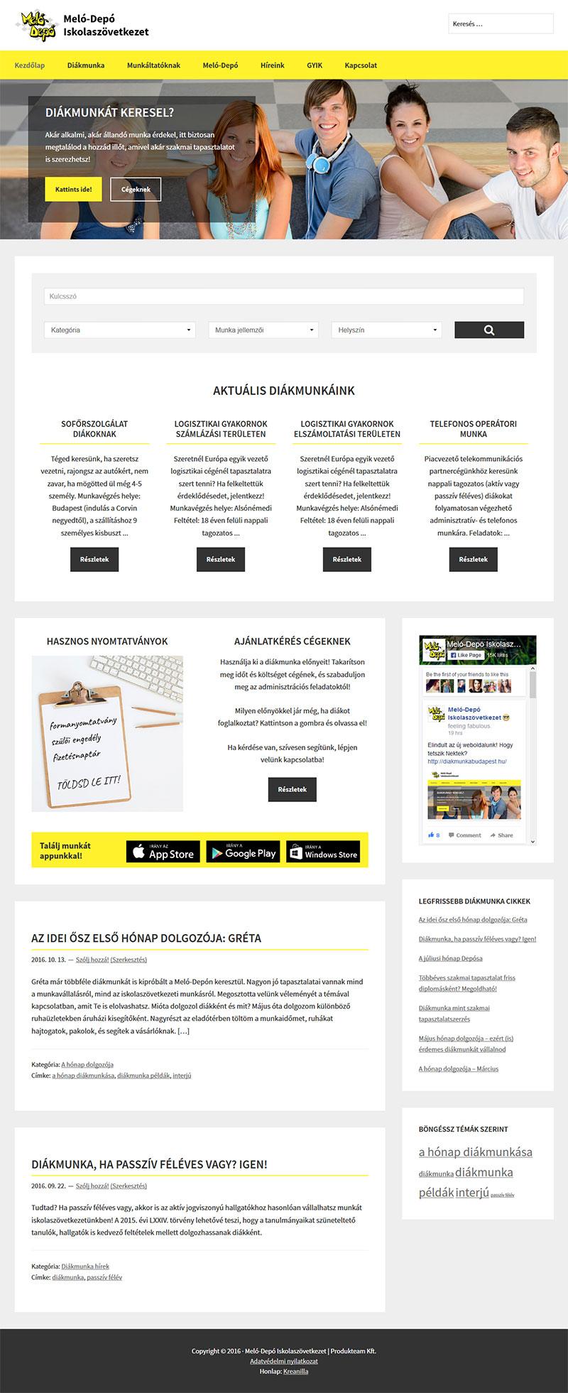 Reszponzív weboldal készítés a Meló-Depó Iskolaszövetkezet részére