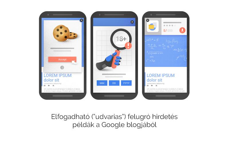 Elfogadható popup példák - Google mobil irányelvek